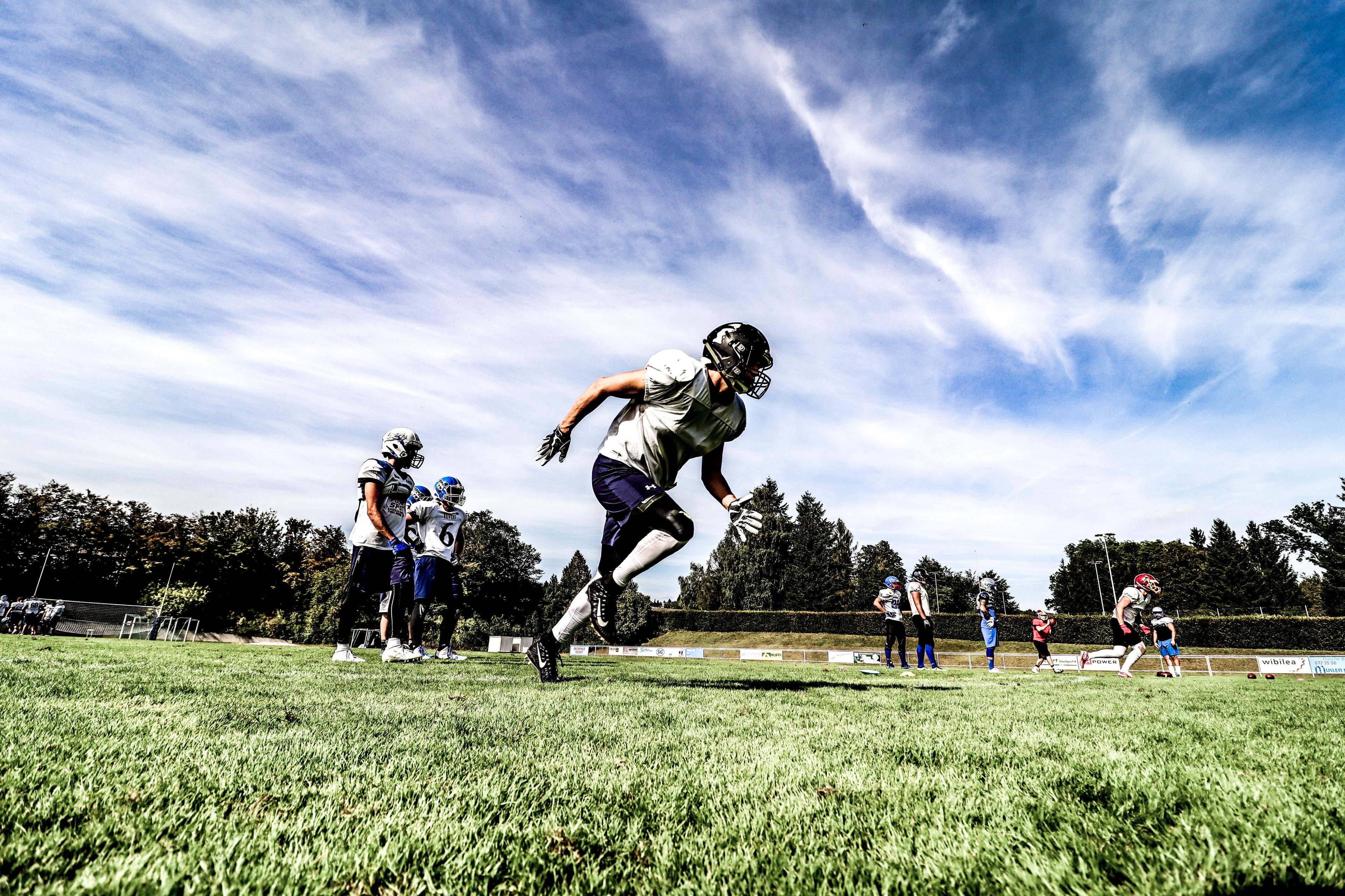 A Football player running