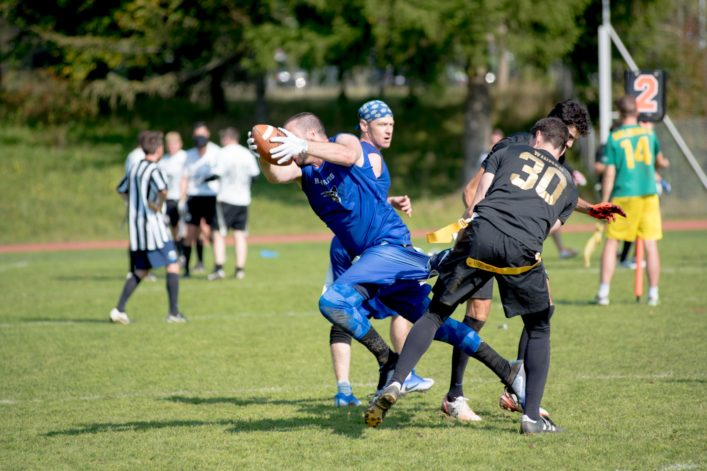 Duel of two people in flag football.